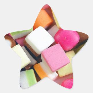 Impresión colorida de la mezcla del caramelo del pegatina en forma de estrella