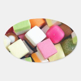 Impresión colorida de la mezcla del caramelo del pegatina ovalada