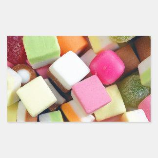 Impresión colorida de la mezcla del caramelo del pegatina rectangular