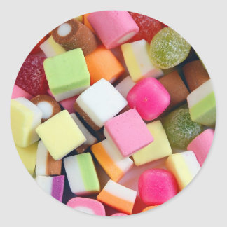 Impresión colorida de la mezcla del caramelo del pegatina redonda