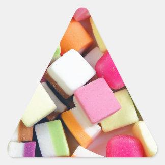 Impresión colorida de la mezcla del caramelo del pegatina triangular