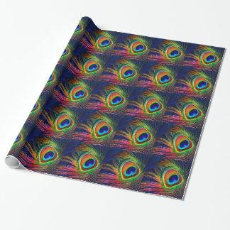 Impresión colorida de la pluma del pavo real papel de regalo