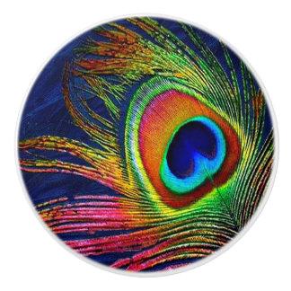 Impresión colorida de la pluma del pavo real pomo de cerámica