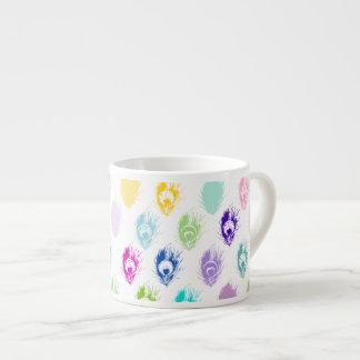 Impresión colorida de la pluma del pavo real taza espresso