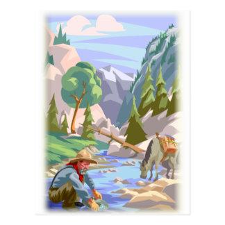 Impresión colorida del prospector del oro postales