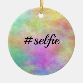 impresión colorida del #selfie adorno redondo de cerámica