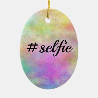 impresión colorida del #selfie adorno ovalado de cerámica