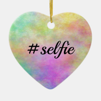impresión colorida del #selfie adorno de cerámica en forma de corazón