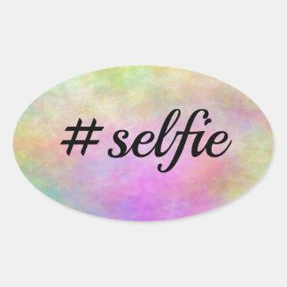 impresión colorida del #selfie pegatina ovalada