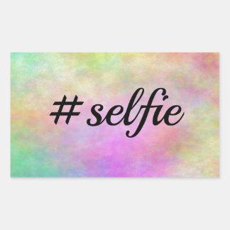 impresión colorida del #selfie pegatina rectangular