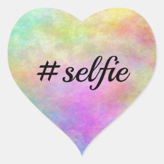 impresión colorida del #selfie pegatina en forma de corazón