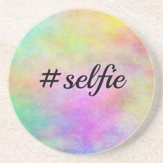 impresión colorida del #selfie posavasos diseño