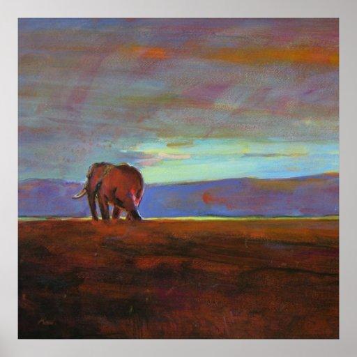 Impresión colosal de la puesta del sol de Ngorongo Poster
