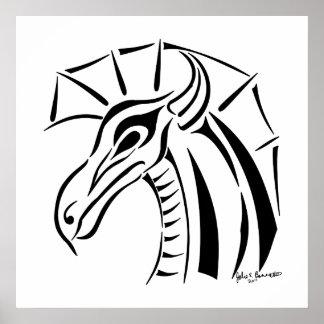 Impresión con cresta del dragón póster