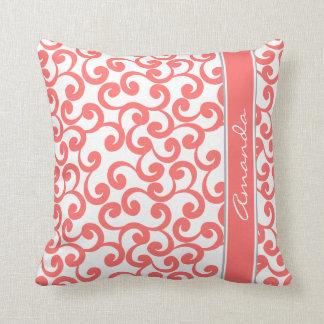 Impresión con monograma coralina de los elementos almohadas
