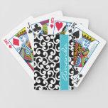 Impresión con monograma de los elementos del ébano baraja cartas de poker