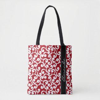 Impresión con monograma de los elementos del rojo bolsa de tela