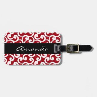 Impresión con monograma de los elementos del rojo etiquetas para maletas