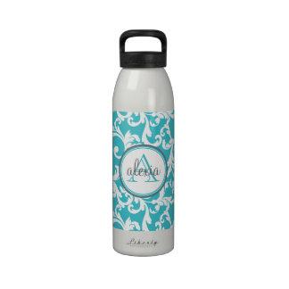 Impresión con monograma del damasco de la aguamari botella de beber