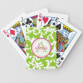 Impresión con monograma del damasco de la frambues baraja de cartas