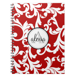 Impresión con monograma del damasco del rojo cerez libros de apuntes con espiral