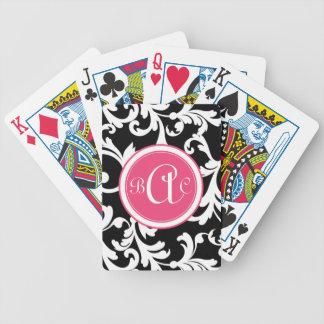 Impresión con monograma del damasco del rosa y del baraja de cartas