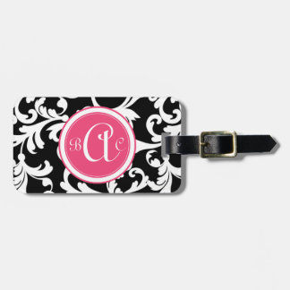 Impresión con monograma del damasco del rosa y del etiquetas de equipaje