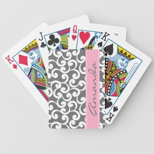 Impresión con monograma gris de los elementos baraja cartas de poker