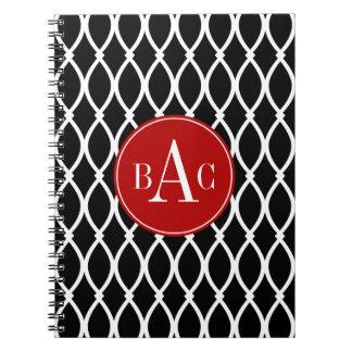Impresión con monograma negra de Barcelona Libro De Apuntes