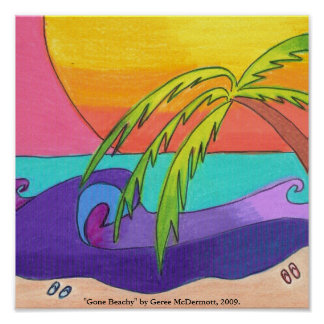 Impresión con playas ida del poster
