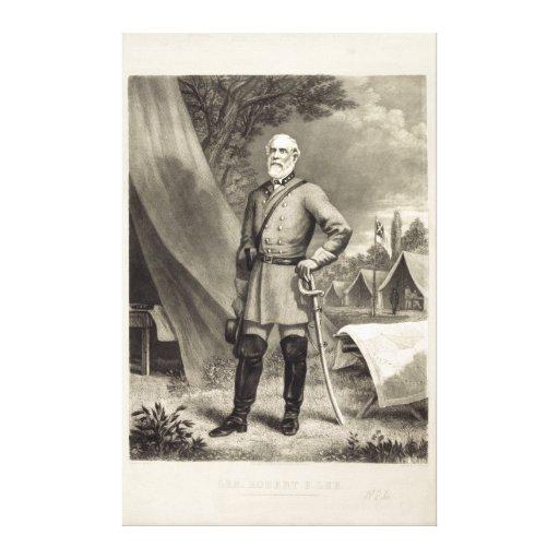 Impresión confederada de general Roberto E. Lee Po Lona Estirada Galerias