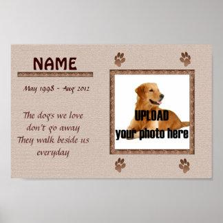 Impresión conmemorativa del perro - tonos de Brown Póster