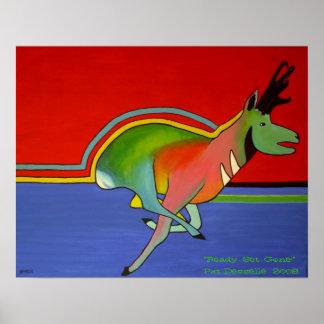 Impresión contemporánea del antílope de Pronghorn Impresiones