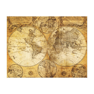 Impresión continente de la lona del mapa del Viejo Impresiones De Lienzo