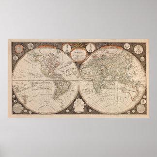 Impresión continente del poster del mapa del Viejo