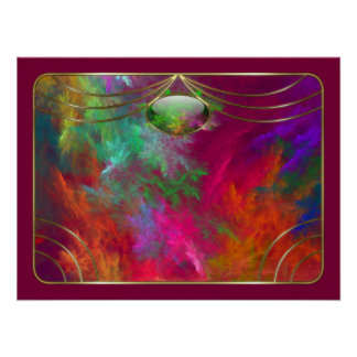 Impresión coralina de las profundidades póster