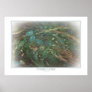 Impresión cósmica del océano poster