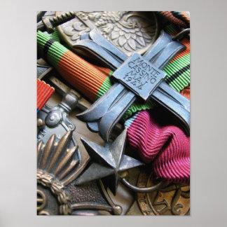 Impresión cruzada de la medalla de Italia del casi Póster
