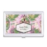 Impresión cruzada florecida rosa cajas de tarjetas de presentación