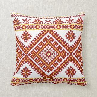 Impresión cruzada ucraniana grande de la puntada d almohada