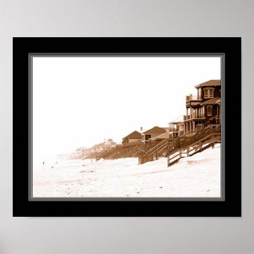 impresión de 11x14 Sephia de la playa de la Florid Impresiones