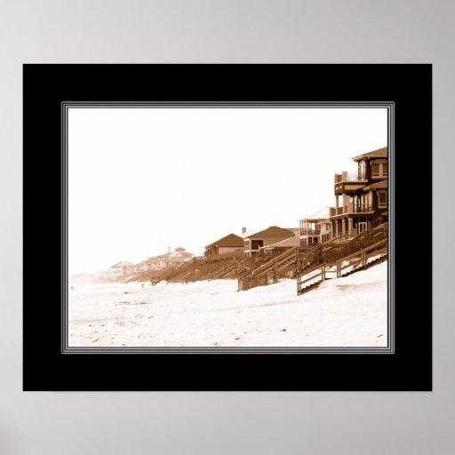 impresión de 16x20 Sephia de la playa de la Florid Posters