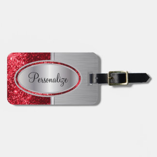 Impresión de acero roja del cepillo del brillo y etiquetas para maletas