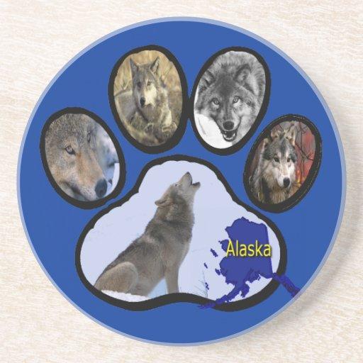 Impresión de Alaska de la pata del lobo Posavasos Cerveza