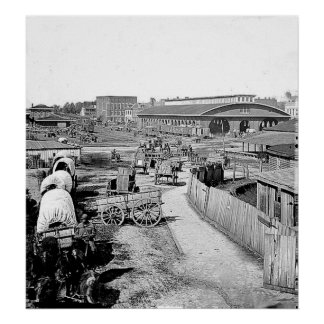 Impresión de Atlanta del depósito de 1864 ferrocar Póster