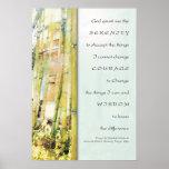 Impresión de bambú del jardín del rezo de la seren poster