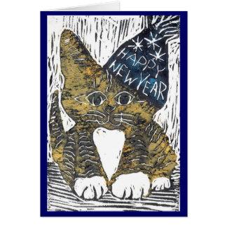 Impresión de bloque de gato de la Feliz Año Nuevo Tarjeta De Felicitación