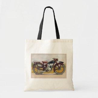 Impresión de bronce de la motocicleta del vintage bolsa lienzo