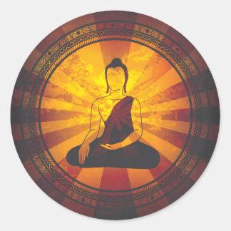 Impresión de Buda del vintage Pegatina Redonda