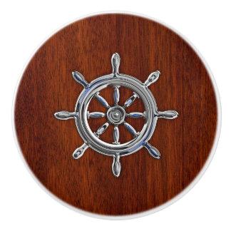 Impresión de caoba del grano de la rueda náutica pomo de cerámica
